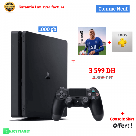 Ps4 console 1to +fifa22 + 3month prix maroc ENJOYPLANET