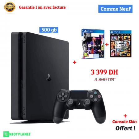 Ps4 console 500gb FIFA21 + GTA - Prix maroc